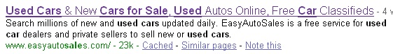 Used Cars for Sale Google Search Result for SEO Training